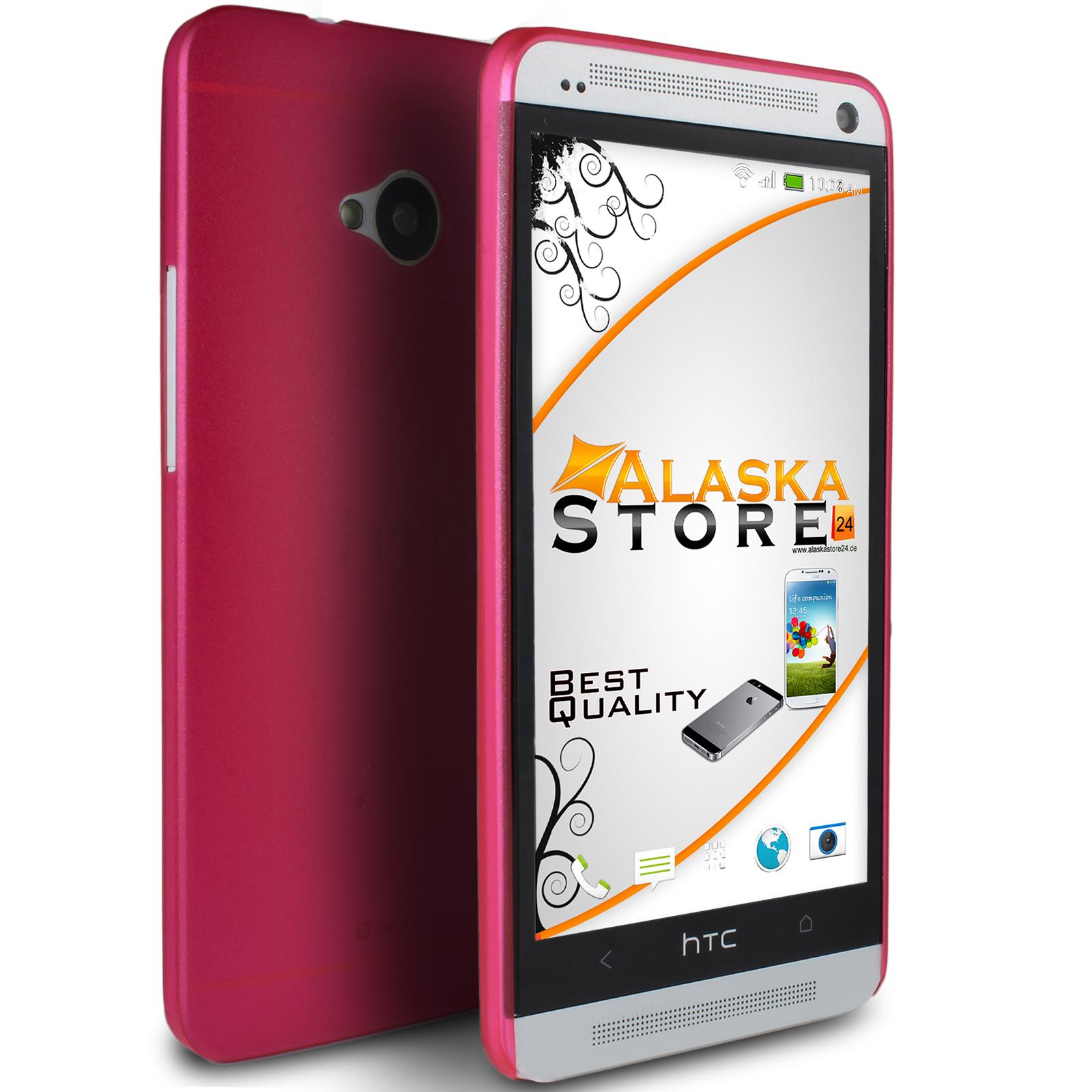 Hard-Gummi-Case-fuer-HTC-One-Serie-Bumper-Slim-Prima-Rueckschale-Bag-Farbauswahl